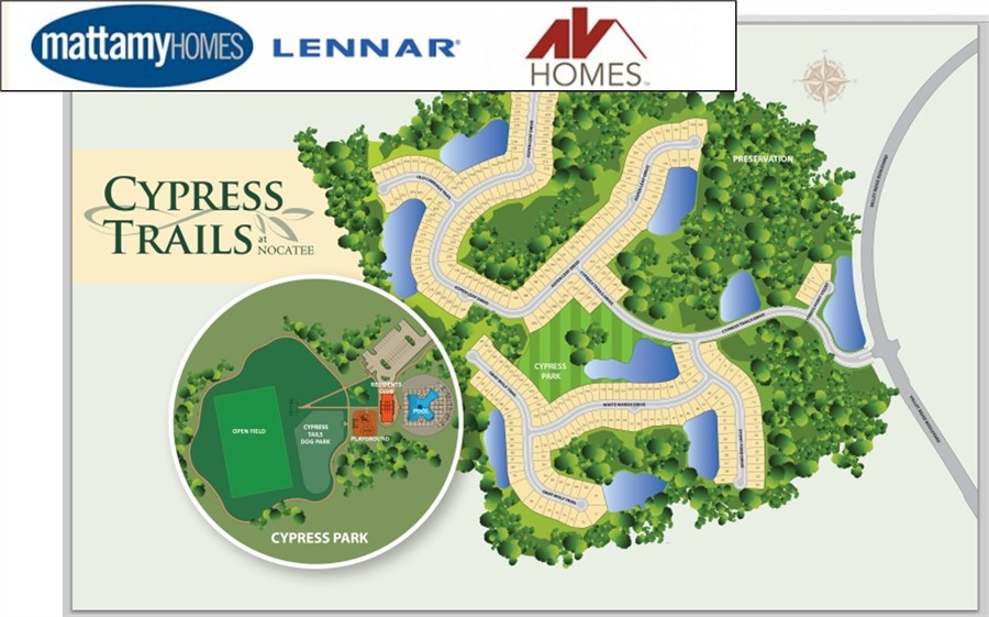 Cypress Trails in Nocayee, homes by Lennar, Mattamy and AV Homes.